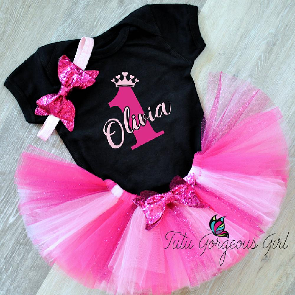 0b5dc7e8f748 Dazzling hot pink and black 1st birthday outfit includes tutu, birthday ...