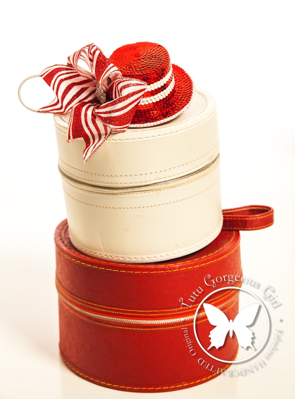 Christmas Red and White Mini Top Hat