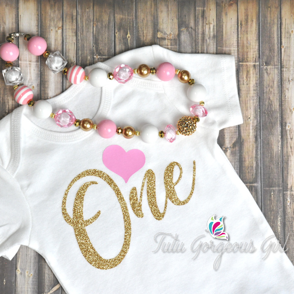 Pink and Gold One Birthday Shirt