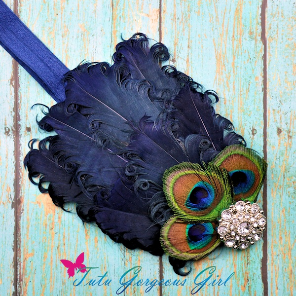 Navy Peacock Curly Feather Pad