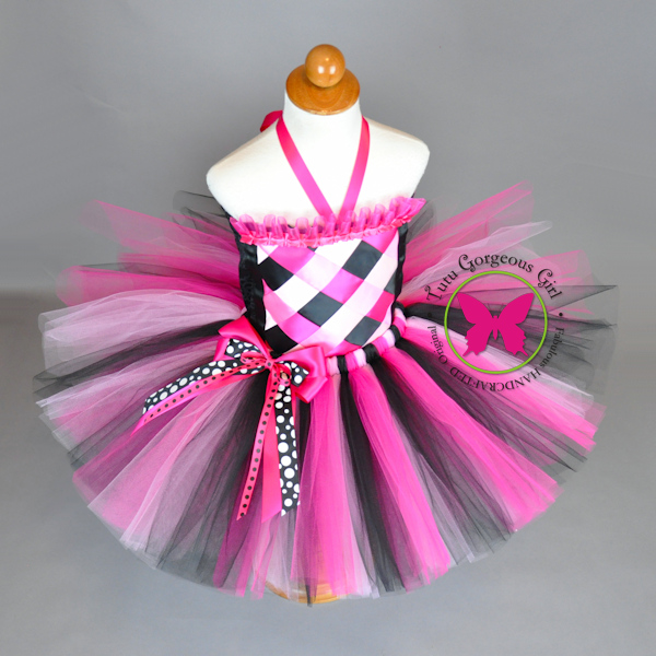 Pink Black Birthday Tutu and Top