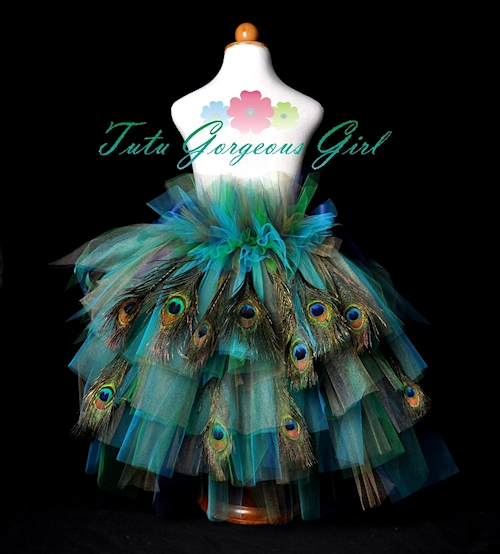 Girl's Peacock Feather Bustle Tutu