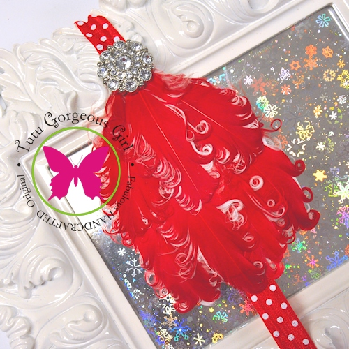 Red & White Curly Feather Headband