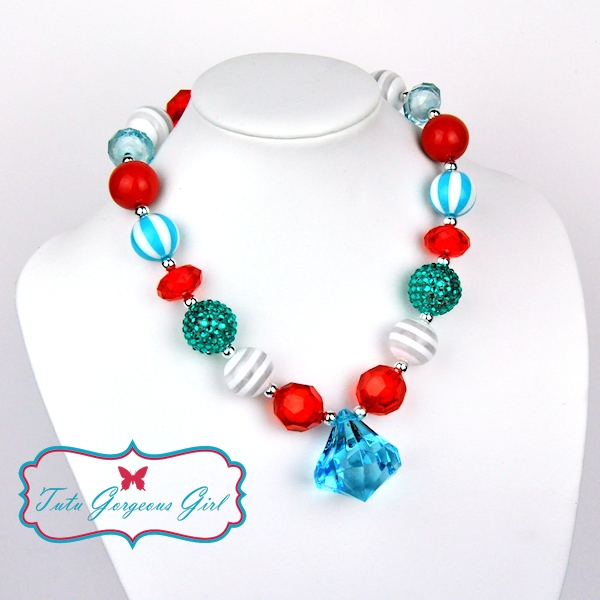 Red, Turquoise & White Chunky Necklace