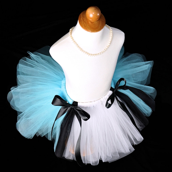 Alice In Wonderland Tutu in Light Blue, Black and White