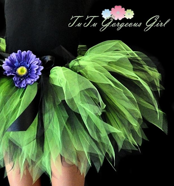 Lime Green & Black Halloween Tutu