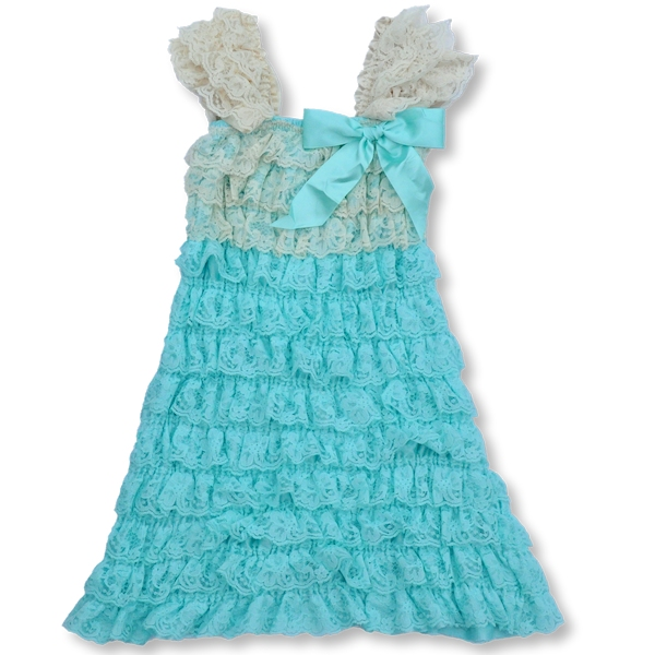Light Aqua and Cream Lace Petti Dress