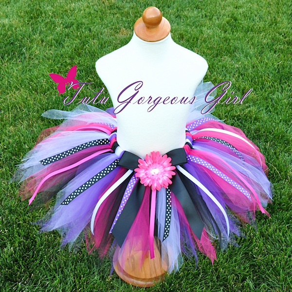 Hot Pink Purple Black Birthday Ribbon Tutu