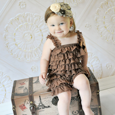 Brown Lace Petti Romper