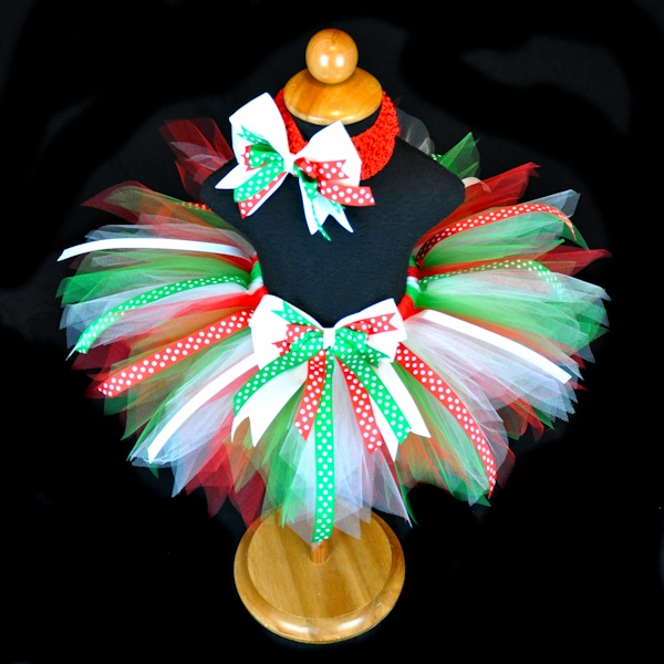 Christmas Darling Red Green White Tutu