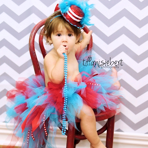 Red and Turquoise Bustle Tutu