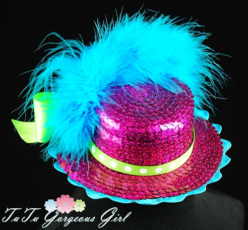 Hot Pink and Turquoise Mini Top Hat