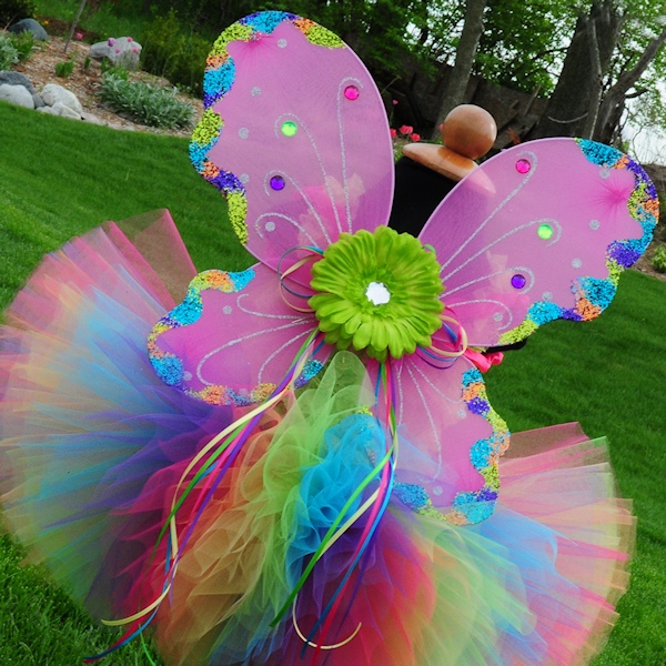 Fuchsia Rainbow Glitter Fairy Wings