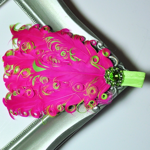 Fuchsia & Lime Curly Feather Headband