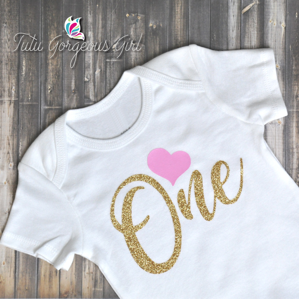 "Pink and Gold ""One"" Birthday Shirt"