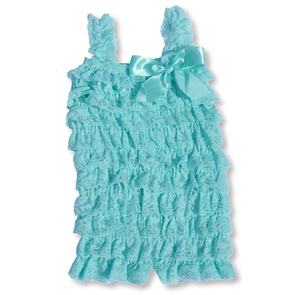 Light Aqua Lace Petti Romper