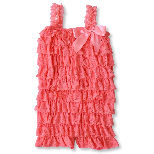 Light Coral Lace Petti Romper