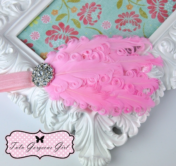 Light Pink Curly Feather Headband