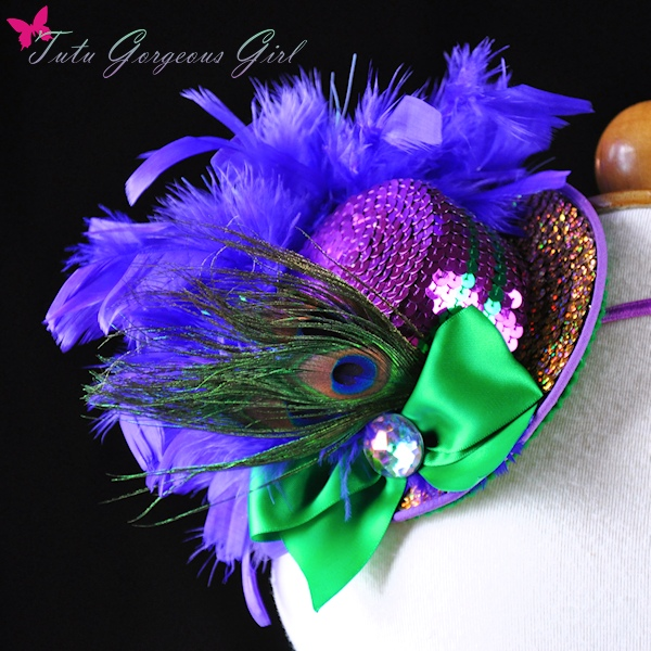 Mardi Gras Peacock Mini Top Hat