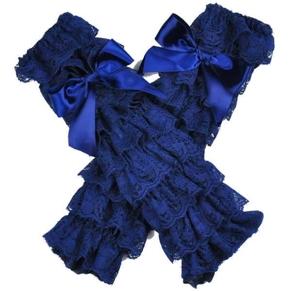 Navy Lace Petti Leg Warmers