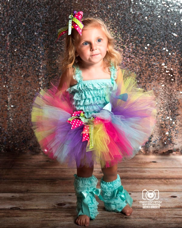 Pinwheels and Posies Aqua, Hot Pink, Lime, and Purple Birthday Tutu Set