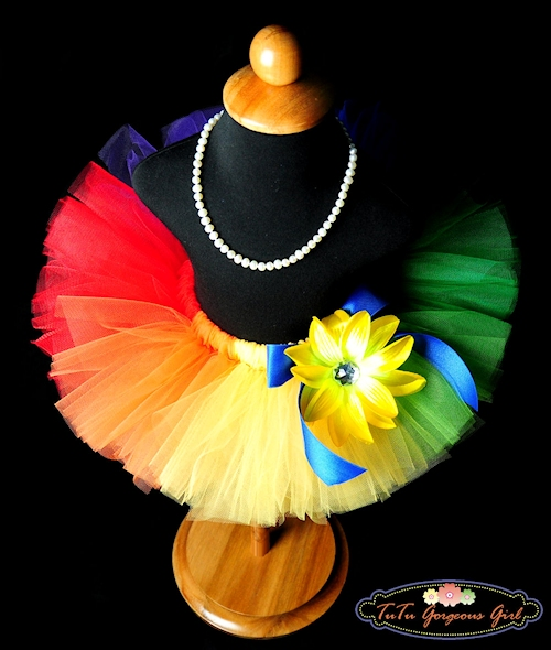 Primary Rainbow Birthday Tutu