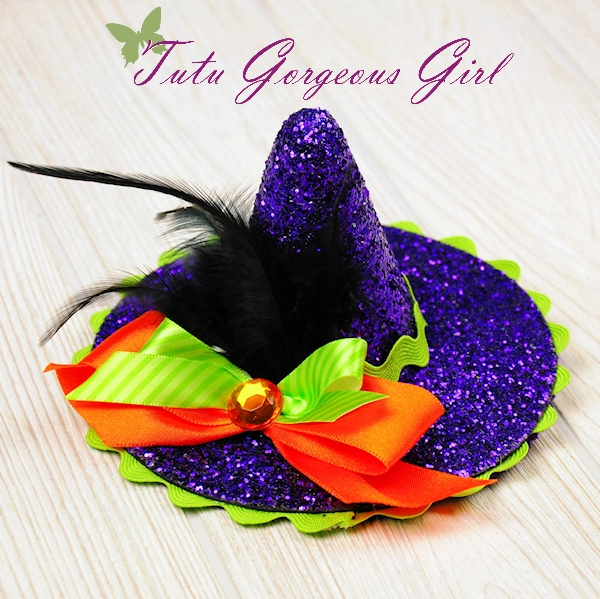 Purple Glitter Mini Witch Hat
