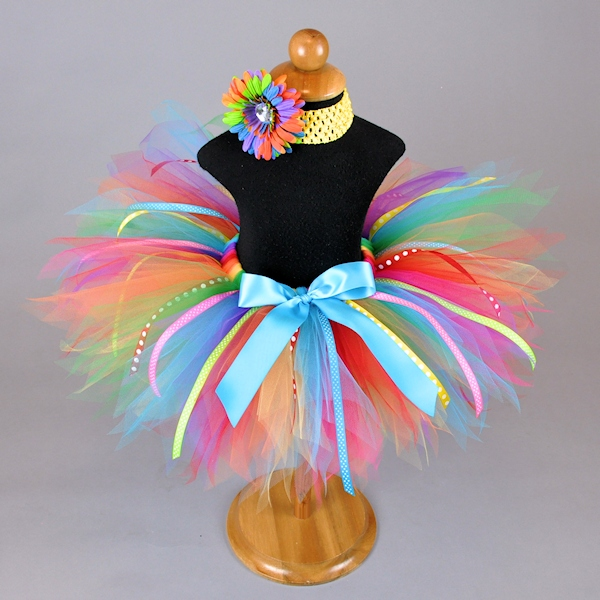 Rainbow Bash Tutu with Ribbon Streamers