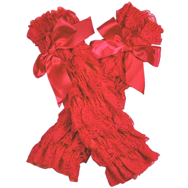 Red Lace Petti Leg Warmers