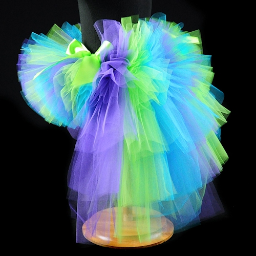 Turquoise Lime Purple Bustle Tutu