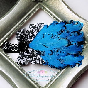 Turquoise Black Curly Feather Headband